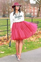 maroon tulle asoscom skirt - maroon fedora whistles hat