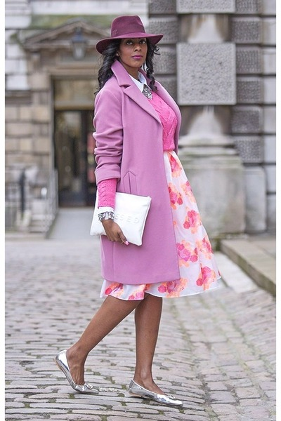 white asos dress - bubble gum wool lapel Marks & Spencer coat