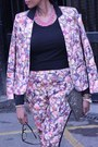 Floral-cotton-topshop-blazer-sequin-clutch-primark-bag