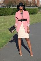 bubble gum bank coat - black trilby H&M hat - silver bank bag