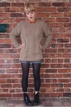 hand knitted jumper - Topshop shirt - Topshop skirt - doc martens boots