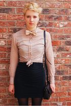 bowtie handmade by me tie - patent leather doc martens boots - Topshop dress