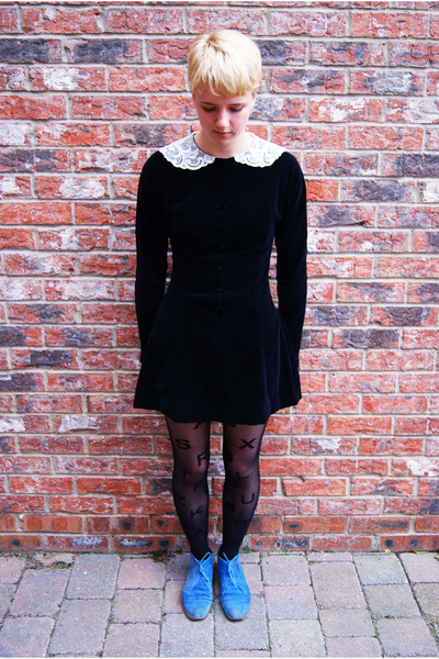 blue suede Topshop boots - velvet Vintage Laura Ashley dress