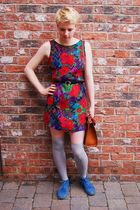 vintage dress - Topshop socks - Topshop boots - vintage bag