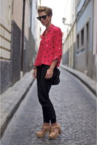red Zara shirt - black Shana pants - nude Uterque heels