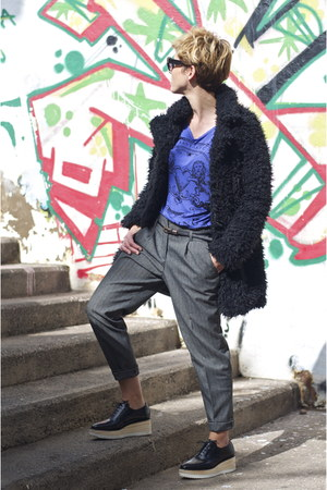 black Primark coat - black Uterque shoes - gray Massimo Dutti pants