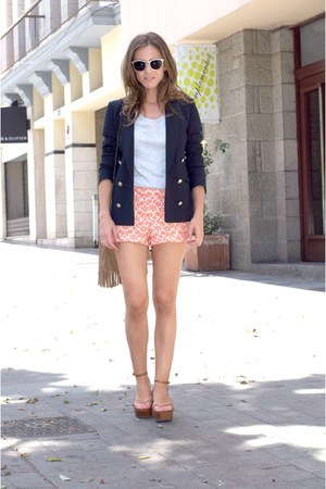 orange Primark shorts - silver Zara sweater - navy Massimo Dutti blazer