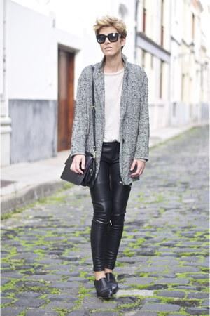 black Uterque shoes - black black and white Shana coat