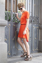 brown Uterque sandals - carrot orange Zara dress - black Uterque cardigan
