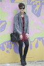 Black-leather-uterque-boots-ruby-red-floral-print-pepe-jeans-dress