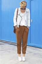 white Local store t-shirt - sky blue Zara jacket - black Michael Kors sunglasses