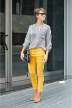 mustard leopard print Massimo Dutti heels - white striped Massimo Dutti shirt