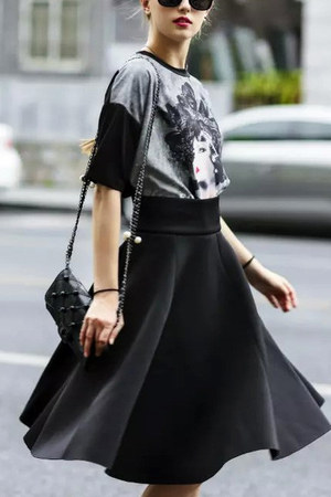 black midi a-line Lookbook Store skirt