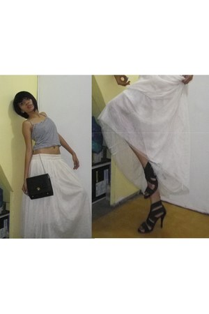 maxi lace skirt skirt - bag - heels - spaghetti strap top