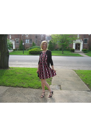 banana republic dress - JCrew cardigan - Payless sandals