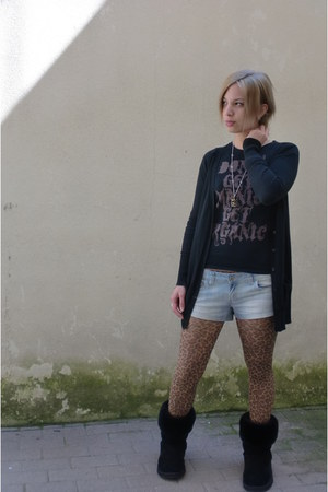 united colors of benetton shirt - Ugg boots - tights - H&M cardigan
