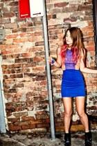 Zara top - blue H&M skirt - black Zara heels