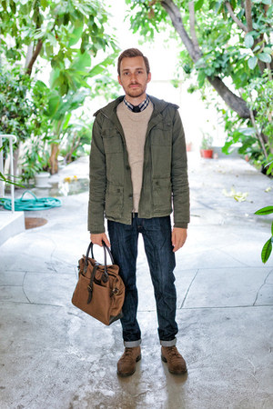 J Crew bag - 1901 boots - Doctrine Denim jeans - All Son jacket
