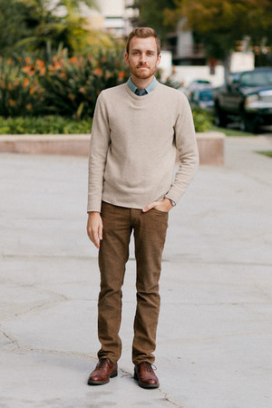 stafford ashton JCPenney shoes - Club Monaco sweater - Lands End Canvas shirt