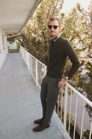 Alfani shoes - H&M sweater - J Crew shirt - Ray Ban sunglasses - Topman pants