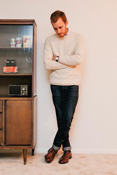 567447453c151 stafford ashton JCPenney shoes - Doctrine Denim jeans - H M sweater - H M  shirt