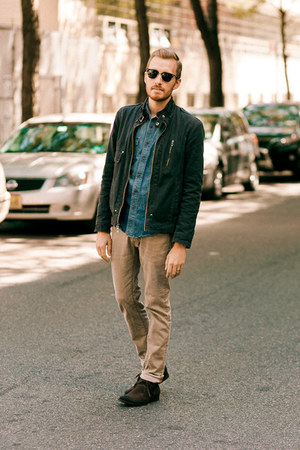 Forever 21 boots - H&amp;M jeans - Guess jacket - Lands End Canvas shirt