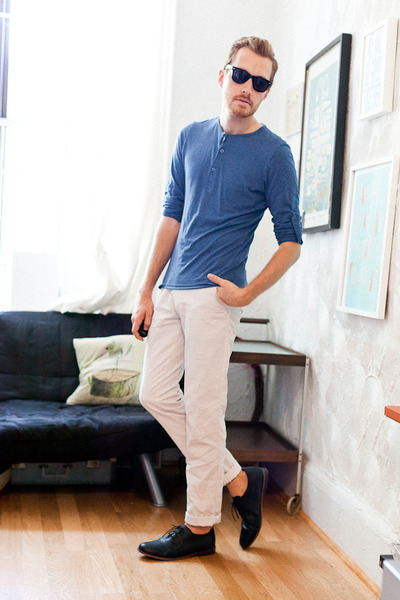 black Urban Outfitters shoes - white Zara pants - blue henley H&M top