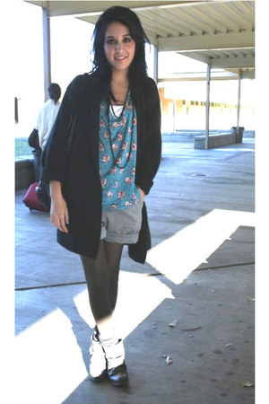 gray Urban Outfitters boots - black Urban Outfitters sweater - turquoise blue Pa