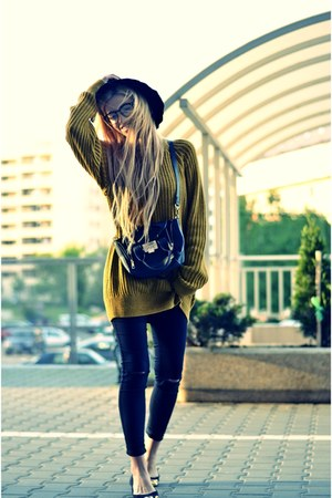 Zara sweater - Zara jeans - Zara hat - new look bag - H&M flats