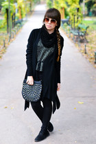 black Stradivarius bag - bronze H&M sunglasses - silver Bershka blouse