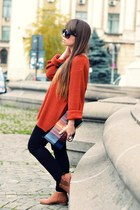 black Zara tights - bronze Pimkie boots - black H&M sunglasses
