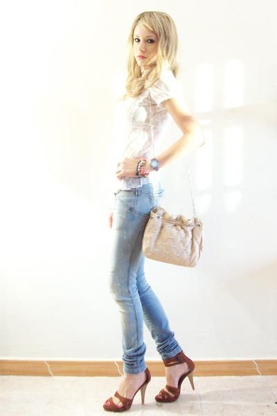 white Balmain blouse - beige Zara accessories - brown Tendency shoes