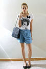 Blue-oysho-shorts-black-zara-accessories-white-zara-blouse-black-pull-bear