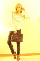 white Mango blouse - black la Chanel Classic Bag accessories - Metalized Sandals