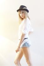 white Balmain blouse - blue Bershka shorts
