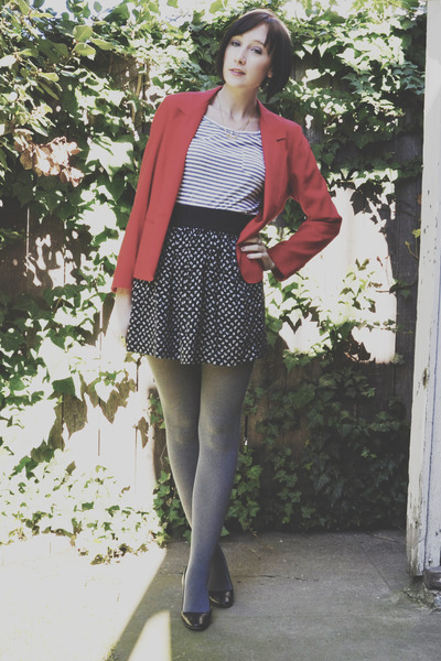 vintage blazer - striped Urban Outfitters shirt - Target tights - floral print U