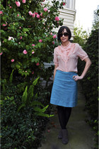 black target tights - vintage glasses - cotton Vintage Blue skirt - silk pink vi