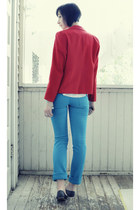 turquoise blue Wet Seal jeans - red vintage blazer - white Sheer Cami shirt - ch