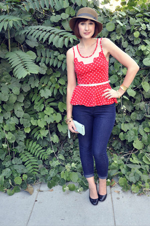 red Tela shirt - navy Forever 21 jeans - dark brown Urban Outfitters hat