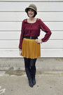 Mustard-pleated-heart-boutique-skirt-black-leather-vintage-boots