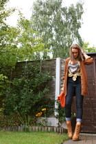 Topshop boots - Miss Selfridge jeans - Bershka shirt - asoscom bag