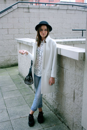 white Zara coat - black Office shoes - black H&M hat