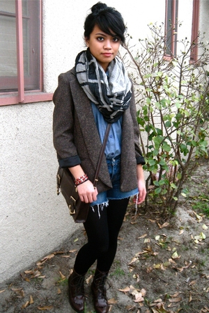Silence & Noise blazer - we who see boots - Deena & Ozzy scarf - H&M shirt - Lev