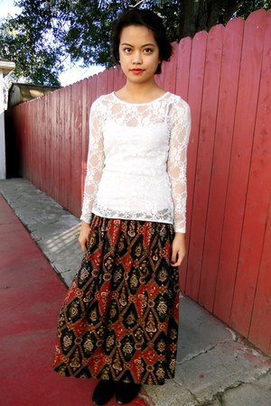 Target top - vintage skirt - UO boots