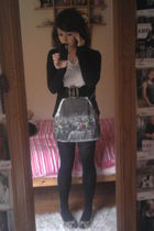 white River Island dress - black Primark cardigan - silver new look shoes