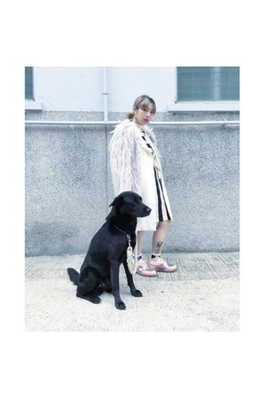 white Zara coat - bubble gum vellina suite shoes - black H&M dress