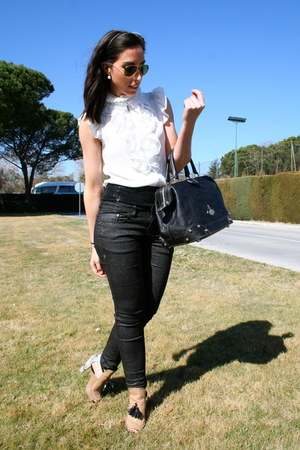 loewe bag - ray-ban sunglasses - Zara heels - Bershka pants - Sfera blouse