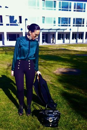 Zara leggings - Celine coat - roberto cavalli bag - Zara blouse