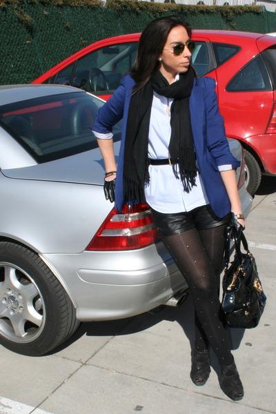 blue Zara blazer - Burberry shirt - roberto cavalli bag - Bershka shorts