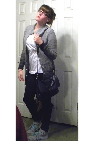 gray Jcpenny sweater - Forever21 shirt - black Forever21 pants - silver payless